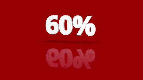 60 percent icon jumping towards camera with clean red background Animation