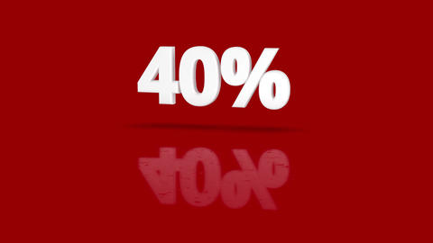 40 percent icon jumping towards camera with clean red background CG動画素材