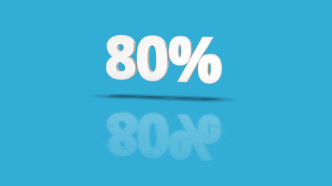 80 percent icon jumping towards camera with clean blue background CG動画素材
