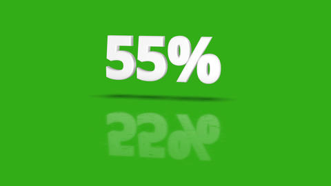 55 percent icon jumping towards camera with clean green background Animation
