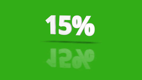 15 percent icon jumping towards camera with clean green background Animation