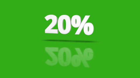 20 percent icon jumping towards camera with clean green background Animation