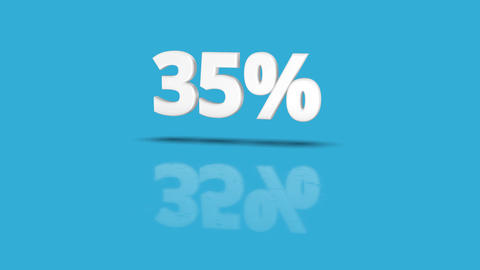 35 percent icon jumping towards camera with clean blue background Animation