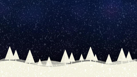 Snow and Christmas trees HD 1080 blue bokeh background Animation