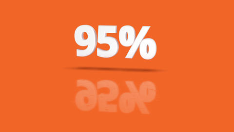 95 percent icon jumping towards camera with clean orange background Animation
