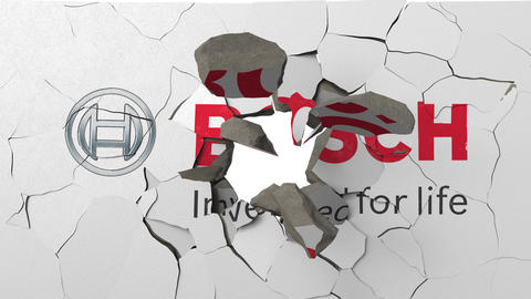 Destroying wall with painted logo of Bosch. Crisis conceptual 3D animation Live Action