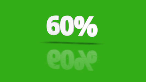 60 percent icon jumping towards camera with clean green background Animation