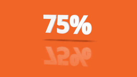 75 percent icon jumping towards camera with clean orange background Animation