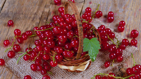 Redcurrant in basket on brown wooden table rotating GIF
