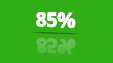 85 percent icon jumping towards camera with clean green background Animation