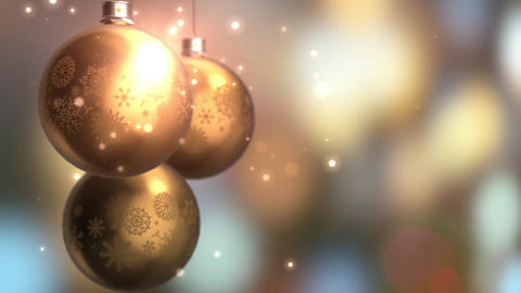 Christmas and New Year Decoration. Abstract Golden Blurred Bokeh Holiday Animation