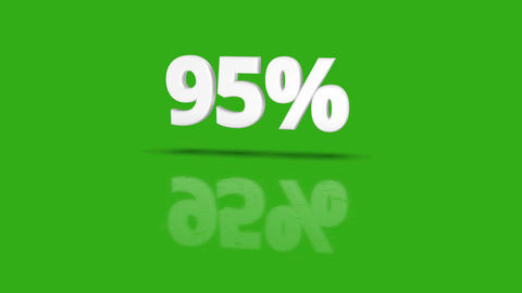 95 percent icon jumping towards camera with clean green background Animation