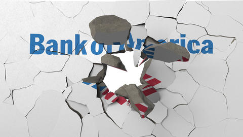 Crushing concrete wall with logo of Bank of America. Crisis conceptual 3D Live Action