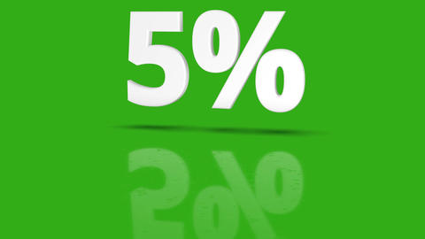 5 percent icon jumping towards camera with clean green background Animation