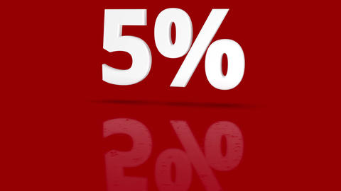 5 percent icon jumping towards camera with clean red background Animation