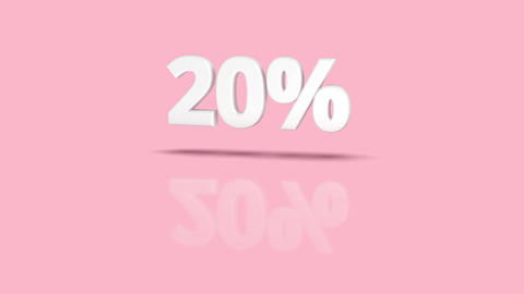 20 percent icon jumping towards camera with clean pink background Animation