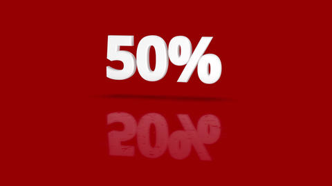 50 percent icon jumping towards camera with clean red background Animation
