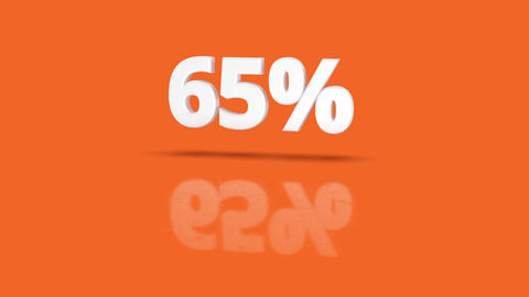 65 percent icon jumping towards camera with clean orange background Animation