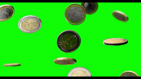 euro coin coins falling slow motion greenscreen green screen Animation