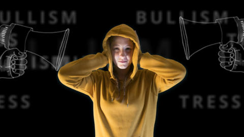 teenage girl, orange hooded sweatshirt, gets annoyed by megaphones that bring Footage