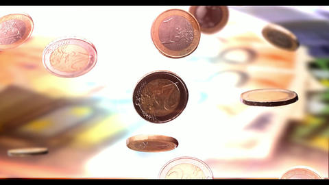 euro coin coins falling slow motion money background Animation