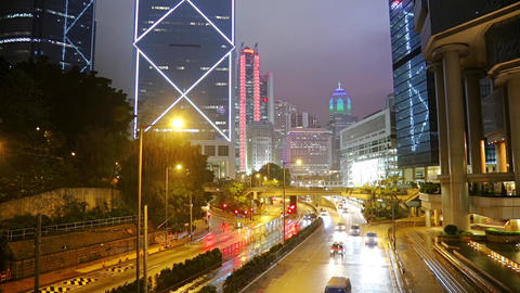Rainfall and Night Traffic in Hong Kong. Fast Motion Archivo