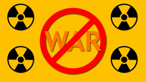 Text War behind prohibition sign and four radioactive sign, danger and safety Live Action