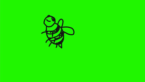 Cartoon Bee Flying Flipping Over Drawing 2D Animation Animation