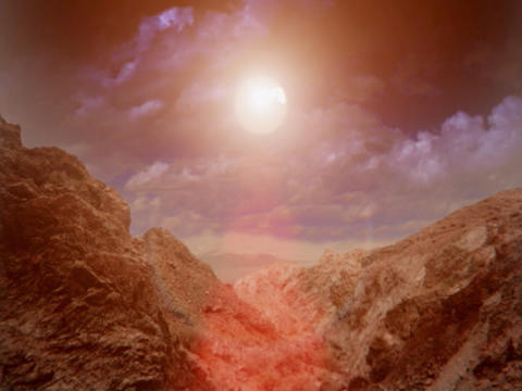 Sun Over Desert Rocks Animation