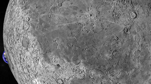 Entering Moon Surface. CG. HD Stock Video Footage