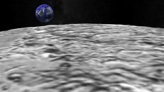 Entering Moon Surface. CG. HD stock footage