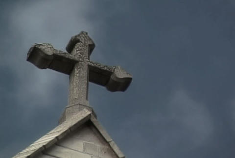 Stone Cross Rays Stock Video Footage