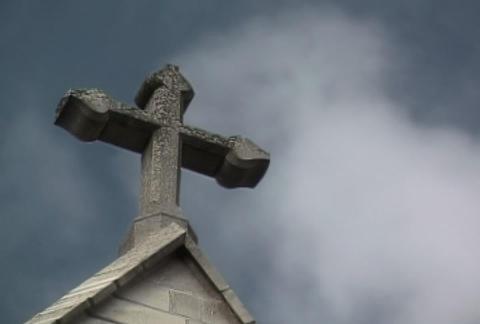 Stone Cross Rays Stock Video Footage