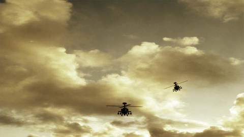 Apache Helicopters stock footage