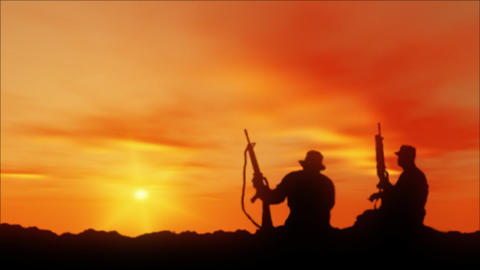 Apache Helicopter Silhouettes and Soldiers Stock Video Footage
