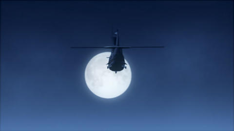 Moonlight Helicopter Flight (NTSCW) Stock Video Footage