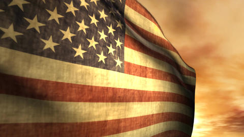 1040 American Flag Blowing in Sunset Animation