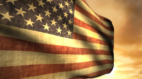 1040 American Flag Blowing in Sunset Stock Video Footage