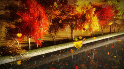 1056 Autumn Leaves Urban Park Canal Sunset Animation