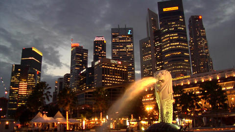 Singapore Merlion Night Skyline Footage