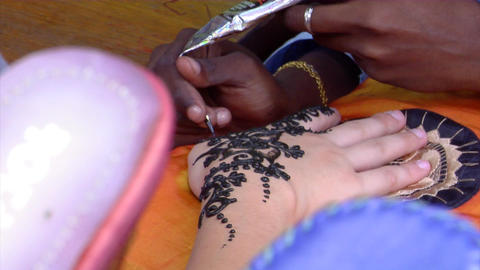 Henna Hand Painting Stock Video Footage