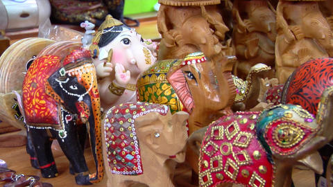 Indian Elephant Figurines Stock Video Footage