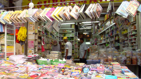 Indian Magazine Shop Pan Shot Stock Video Footage