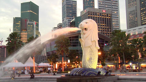 Singapore Merlion Stock Video Footage
