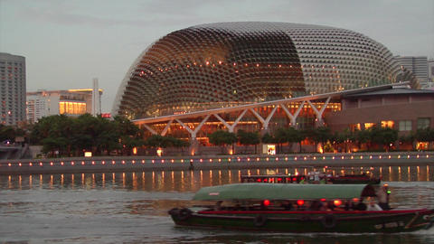 Singapore River, Esplanade Stock Video Footage