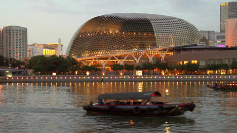 Singapore River With Bumboats Footage