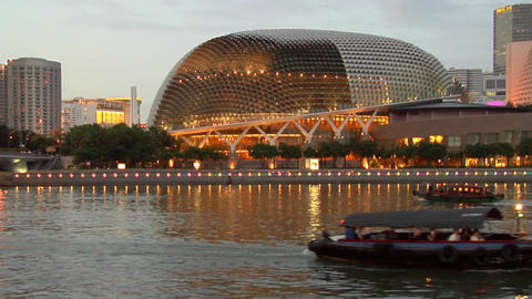 Singapore River With Bumboats Stock Video Footage