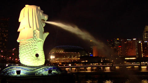 Singapore Merlion At Night Stock Video Footage