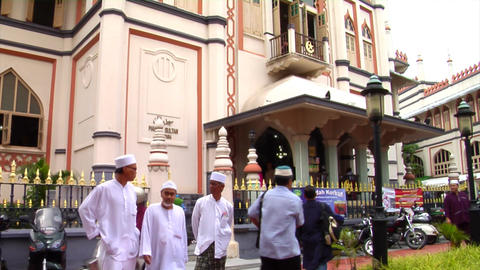 Singapore Muslims At Sultan Mosque Stock Video Footage