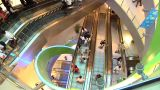 Escalators In Singapore Shopping Centre stock footage